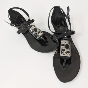 Coach • Patent Leather Wedge Sandals Dylan Black